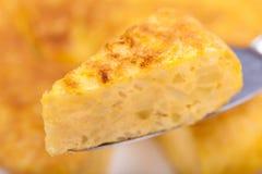 Partie de tortilla espagnole (omelette) Photographie stock libre de droits