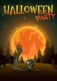 Partie de zombi de Halloween sur le fond orange de lune Illustration de vecteur illustration libre de droits