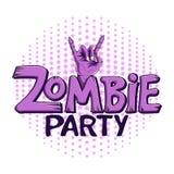 Partie de zombi de logo La main de zombi montre le geste de roche Images stock
