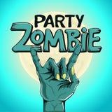 Partie de zombi de logo La main de zombi montre le geste de roche sur le fond de la lune Image stock
