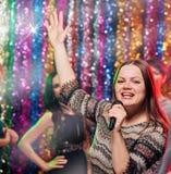 Partie drôle de karaoke Photographie stock libre de droits