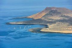 Partie du sud d'île de Graciosa, Îles Canaries, Espagne photographie stock libre de droits