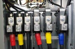 Partie et accessoires électriques dans le coffret de contrôle, distributeur de contrôle, lock-out, tagout photos libres de droits
