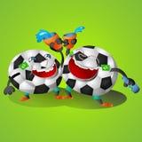 Partie et acclamation de bande dessinée du Brésil du football Illustration de Vecteur