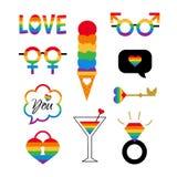 Partie gaie de l'ensemble de symboles de fierté de vecteur LGBT illustration de vecteur