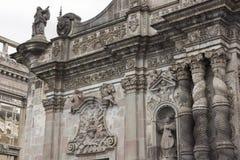 Partie gauche de la façade de l'église de la société de Jésus Images stock