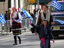 Partie grecque 82 du défilé 2016 de Jour de la Déclaration d'Indépendance de NYC image libre de droits