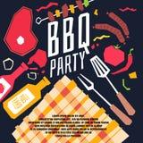 Partie moderne de BBQ d'affiche avec une nappe à carreaux, barbecue, légumes illustration stock