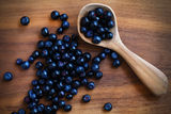 Partie saine de petit déjeuner de fruit de myrtilles, frais et sauvage Images stock