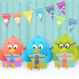 Partie sociale d'oiseau bleu Photo libre de droits