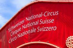 Partie supérieure d'une tente de cirque Knie à Zurich, Suisse Image stock