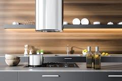 Partie supérieure du comptoir grise de cuisine dans la chambre en bois, four illustration stock