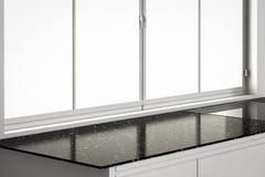 Partie supérieure du comptoir vide avec des châssis de fenêtre dans la cuisine Image stock