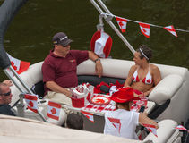 Partie sur le bateau pendant le jour de Canada Images libres de droits