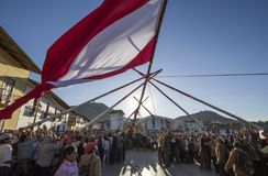 Partie traditionnelle de drapeau du Pérou images stock