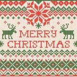 Partie tricotée de Noël de Joyeux Noël de carte de voeux Knitt fait main Image stock