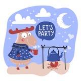 PARTIE Valentine Day Cartoon Animal Set de CERFS COMMUNS illustration libre de droits