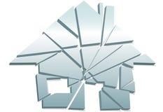 Parties brisées par symbole à la maison cassé de maison de concept Photographie stock libre de droits