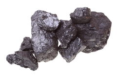 Parties de charbon d'isolement sur le fond blanc Photographie stock