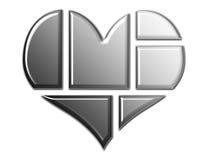 Parties de coeur en noir et blanc Images libres de droits
