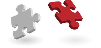 Parties de puzzle d'isolement avec l'ombre Image libre de droits
