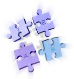 Parties de puzzle denteux formant une équipe Photographie stock