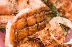 Parties de saumons Photos stock
