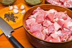Parties de viande crue Photographie stock libre de droits