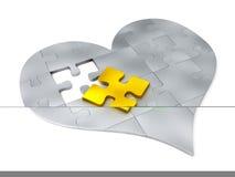Parties en acier de puzzle sous forme de coeur Images libres de droits