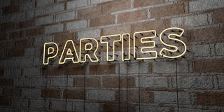 PARTIES - Glowing Neon Sign on stonework wall - 3D rendered royalty free stock illustration. Can be used for online banner ads and direct mailers Royalty Free Stock Images
