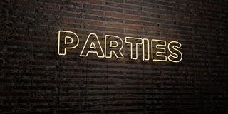 PARTIES -Realistic Neon Sign on Brick Wall background - 3D rendered royalty free stock image. Can be used for online banner ads and direct mailers Royalty Free Stock Photos