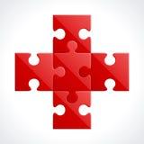 Parties rouges de puzzle Photographie stock