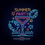 Partiet för neonaffischsommar Annonsering av lopp på semester till havet royaltyfri illustrationer