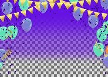 Partiet firar blåa ballonger med gräsplan på en purpurfärgad bakgrund royaltyfri illustrationer