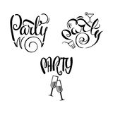 Partiet märker Doodle-01 stock illustrationer