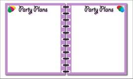 Partiet planerar den rosa notepaden Royaltyfri Foto