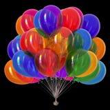 Partiet sväller skinande färgrik garnering för mångfärgad födelsedag stock illustrationer