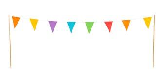 Partiflaggor som isoleras på en vit bakgrund Arkivfoto