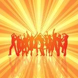 Partifolkmassa på retro starburstbakgrund Fotografering för Bildbyråer
