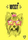 Partihund med exponeringsglas: vykort inbjudan Stock Illustrationer