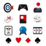 Partii Pokeru sztuki karty kostka do gry Archer sześcianu automat do gier kreskówki wektor Obraz Royalty Free