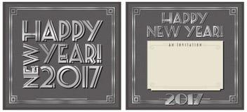 Partiinbjudan 2017 för nytt år vektor illustrationer