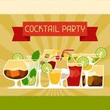 Partiinbjudan med alkoholdrinkar och coctailar Arkivbild