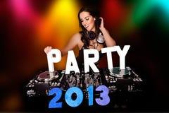 PARTIJ 2013 met sexy DJ Royalty-vrije Stock Afbeelding