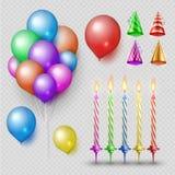 Partij accessorises vectorreeks Realistische die kaarsen, ballons en partijhoeden op transparante achtergrond worden geïsoleerd royalty-vrije illustratie