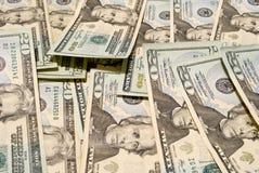 Partij bankbiljetten 20$ wat oppervlakte Stock Foto
