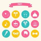 Partij en de reeks van het Vieringspictogram Stock Foto's