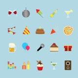 Partij en vierings geplaatste pictogrammen Royalty-vrije Stock Foto