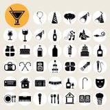 Partij en vierings geplaatste pictogrammen Stock Foto