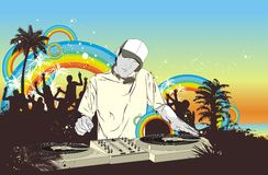 Partij met menigte & DJ royalty-vrije illustratie